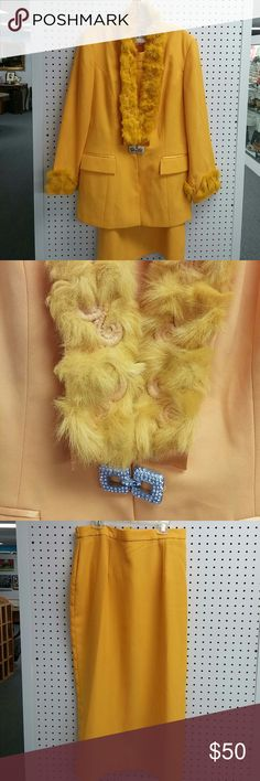 Size 14 vintage KB (STELLA LOUISE ROX) 2 pc.set Beautiful goldenrod yellow suit jacket with ostrich fur. Long skirt with flexible band and zipper in the back an ostrich for on top of the zipper the cups of the Blazer jacket are also lined w ostrich fur.  Two pockets in the front are for show and not usable. kb Skirts Skirt Sets
