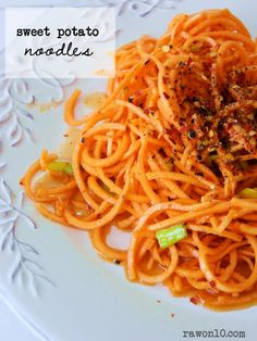 Raw on $10 a Day (or Less!): Raw Food Recipe: Sweet Potato Noodles; forego the olive oil in the dressing