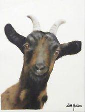 """ZARA HUDSON Original 11"""" X 9"""" Oil Painting Curious Goat Portrait On Canvas"""