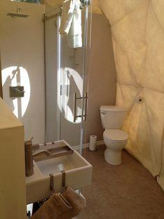 Dome bathroom ideas, Ridgeback, Lodge, Canada. 20' dome.