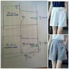 Sewing pants pattern costura Ideas for 2020 Dress Sewing Patterns, Sewing Patterns Free, Clothing Patterns, Sewing Shorts, Sewing Clothes, Pants Pattern, Fashion Sewing, Diy Clothing, Dressmaking