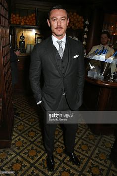 Luke Evans attends Harvey Weinstein's pre-BAFTA dinner in partnership with Burberry and GREY GOOSE at Little House Mayfair on February 12, 2016 in London, England.
