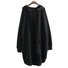 Solid Color Long-Sleeve Hooded Dress