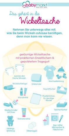 What should be in the diaper bag? Our infographic provides the answer to what you need to change on the way. Watch now! Infographic diaper bag LÄCHELN UND WINKEN laechelnuwinken Babys erstes Jahr What should be in the diaper bag? Our infographic p Bebe Video, Baby Care Tips, Baby Tips, Baby Supplies, Baby Diaper Bags, Baby Arrival, After Baby, Baby Winter, Baby Sleep