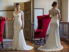 LOVE the shear back, cutout, and intricate beaded detailing on this stunningly elegant gown with a twist from Augusta Jones Fall 2014. Augusta Jones available at Cocoa Couture Pinned from www.dreamweddingspa.com