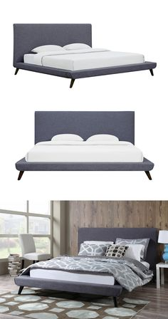 With its sleek silhouette, this bed frame is the perfect piece for an elegant bedroom. Handsomely hand-crafted, the Lynd Bed boasts a design noticeably inspired by the mid-century modern design movemen...  Find the Lynd Bed, as seen in the The Thompson Chicago Collection at http://dotandbo.com/collections/the-thompson-chicago?utm_source=pinterest&utm_medium=organic&db_sku=113696