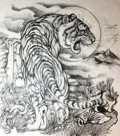 tattoos in japanese prints Japanese Tiger Tattoo, Japanese Tattoo Designs, Japanese Sleeve Tattoos, Irezumi Tattoos, Leg Tattoos, Body Art Tattoos, Tattoo Studio, Tiger Tattoodesign, Tiger Artwork