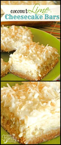 These Coconut Lime Cheesecake Bars are heavenly, or maybe I should say sinful. You can't eat just one! They have a tart sweet irresistible flavor. via @favfamilyrecipz