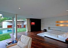 Mid Century Modern Flooring Design | Um, look at the large wall of windows. Need I say more? Beautiful!