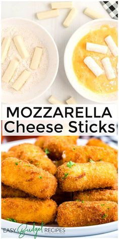 These homemade Mozzarella Cheese Sticks are easy to make and feed a hungry crowd. For more easy side dish recipes follow Easy Budget Recipes! Appetizers For A Crowd, Easy Appetizer Recipes, Snacks Recipes, Savory Snacks, Healthy Appetizers, Easy Snacks, Grilling Recipes, Easy Meals, Budget Recipes