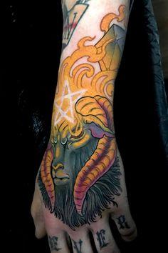 Satanic Ram tattoo on the hand by Leo Branco - Book with Leo on the Tattoodo App or find an artist near you! - #handtattoo #ramtattoo #goattattoo #demontattoo #satanictattoo #pentagramtattoo #colortattoo #neotraditionaltattoo #colorhandtattoo #tattooidea #tattooinspo