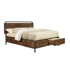 Coaster Arcadia Queen Platform Bed with Drawers in Weathered Acacia
