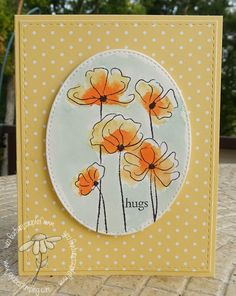 Jaydee: Rubbernecker Field of Flowers; So Saffron designer series paper, cardstock, and Lost Lagoon ink Poppy Cards, Love Doodles, Watercolor Cards, Watercolor Painting, Flower Cards, Note Cards, Making Ideas, Cardmaking, Poppies