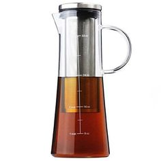 COLD BREW COFFEE MAKER - Airtight Glass Pitcher & Carafe Pot with Removable Stainless Steel Filter - Perfect for Cold Brew, Iced Coffee, and Iced Tea Infusion - 1 Quart   32 oz