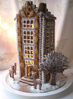 Gingerbread highrise.   LOVE this.  Reminds me of all the lovely historic buildings I stare at when I'm in NYC!
