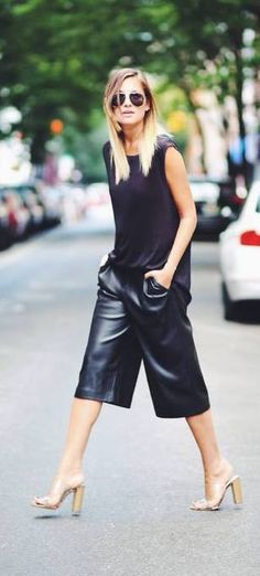 Black leather cullote summer casual