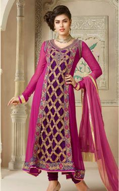 PINK & PURPLE FAUX GEORGETTE ANARKALI SALWAR KAMEEZ - VP 2810