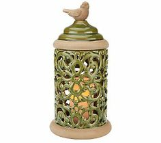 16.5 Ceramic Pierced Lit Hurricane with Bird Accent by Valerie Parr Hill - QVC