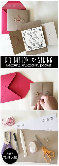 """Create a wedding invitation pocket from a regular 8.5 x 11"""" sheet of paper. Hands down the most economical way to get the pocket look for your wedding invitations! Finish with an understated button and string closure. Nothing frilly. Just stylish."""