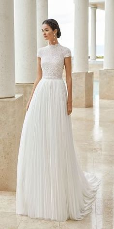 Princess wedding dress in beaded lace and silk mousseline. With high neck, closed back and short sleeves. Princess Wedding Dresses, Dream Wedding Dresses, Bridal Dresses, High Neck Wedding Dresses, Short Sleeved Wedding Dress, Rosa Clara Wedding Dresses, Diy Wedding Dress, Gown Wedding, Brautkleid High Neck