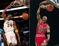 Many sports fans have compared Kobe Bryant to Michael Jordan, but how similar are their games? Very, as the gallery below reveals. The two have almost identical styles on the court. Kobe Vs Jordan, Kobe Bryant Michael Jordan, Michael Jordan Photos, Jordan Quotes, Air Max Classic, Nike Headbands, Nike Design, Air Jordan Sneakers, Nike High Tops