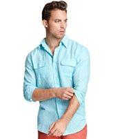 Izod Shirt, Long Sleeve Linen-Blend Shirt