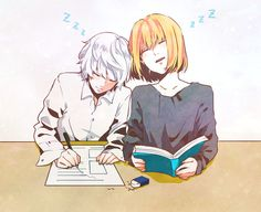 They are so cute while studying and sleeping