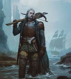 m Ranger Med Armor Cloak Crossbow Sword coastal cliffs ship sea ArtStation - A Greyjoy and Pyke, Hunter Schulz Fantasy Character Design, Character Concept, Character Art, Concept Art, Fantasy Armor, Medieval Fantasy, Dnd Characters, Fantasy Characters, Fantasy Inspiration