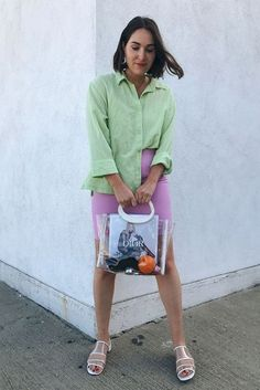 Gen Z yellow, lovely lavender, lime—this season's color trends are best worn together. See how I'm tackling the color clashing trend. Color Combinations For Clothes, Color Combos, Color Trends, All White Outfit, White Outfits, Lime Green Shirts, Purple Skirt, Color Pairing, Green Sweater