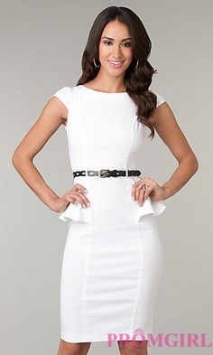 Knee Length Modest Neckline Dress by XOXO at PromGirl.com I actually own this in blue!