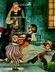 Halloween Art, Man Frightens Trick or Treaters, Fun Decoration for Halloween #216