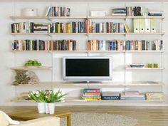 Image result for adjustable shelving living room