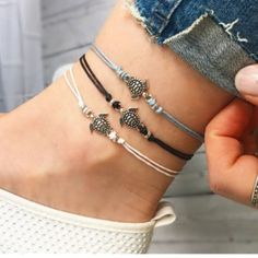 $1.0 AUD - Boho Retro Turtle Pendant Anklet Bracelet Leather Women Foot Beach Jewelry Gift #ebay #Fashion #diyankletssimple