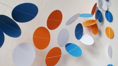 White Orange Blue paper circles garland Blue by HelenKurtidu Circle Garland, Garland Wedding, Blue Wedding, Circles, Nursery Decor, Birthday Parties, Baby Shower, Unique Jewelry, Orange