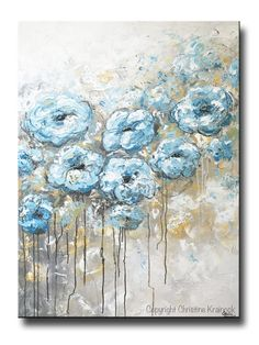 ORIGINAL Art Abstract Blue White Floral Painting Flowers LARGE Coastal Grey Gold - Christine Krainock Art - Contemporary Art by Christine - 1