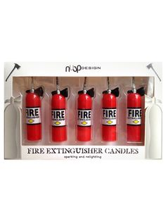 Get A Load Of Laughs When You Place These Whimsical Fire Extinguisher Candles From NuOp Design On That Over The Hill Cake This Set Five Look