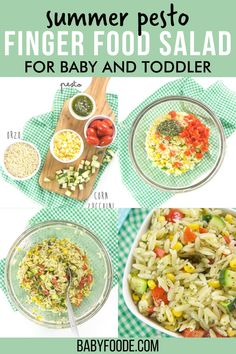 This Pesto Summer Finger Salad for Baby and Toddler is full of bite-size pieces of corn, tomatoes, zucchini and orzo pasta all mixed together with a spoonful of flavorful pesto. This simple summer salad is the perfect finger food for baby led weaning, or a simple healthy lunch or dinner recipe for toddlers. It also packed well for school lunch, or an on-the-go veggie-packed snack! #fingerfoods #babyledweaning #toddlerlunch #toddlerdinner #pasta Baby Food Recipes, Salad Recipes, Dinner Recipes, Healthy Recipes, Baby Led Weaning Breakfast, Go Veggie, Kale Pesto, Baby Finger Foods, Toddler Lunches