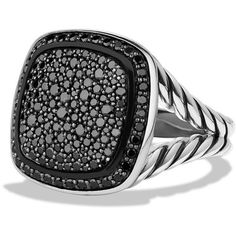 David Yurman Albion Ring with Black Diamonds ($2,330) ❤ liked on Polyvore featuring jewelry, rings, apparel & accessories, black diamond, engagement rings, wide-band rings, david yurman, david yurman jewelry and black diamond jewelry