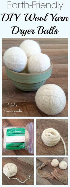 Vintage wool yarn from the thrift store to be repurposed and upcycled into DIY dryer balls by Sadie Seasongoods / www.sadieseasongoods.com