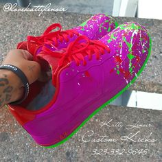 Check out Custom Colors: Paradise Purple, Fire Red & Joker Green. Text to get your shoes customized today! Best Sneakers, Custom Sneakers, Custom Shoes, Sneakers Fashion, Sneakers Nike, Jordan Shoes Girls, Girls Shoes, Huaraches Shoes, Custom Jordans