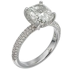 pave domed skinny band with cushion cut center stone