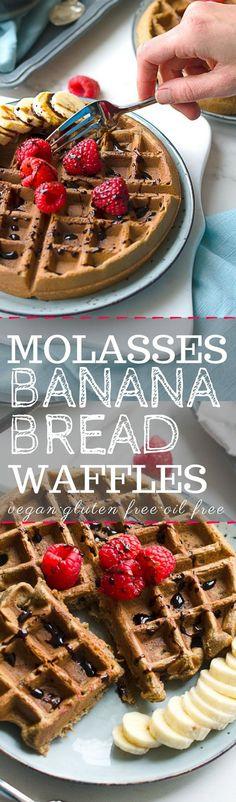 Gluten free vegan waffles! Made with blackstrap molasses roasted bananas! Healthy vegan recipes! Healthy breakfast recipes! Roasted Banana Waffles!