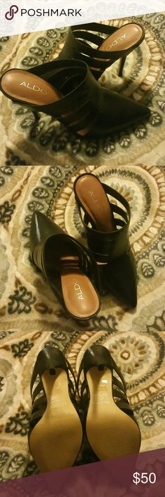 Aldo Heels Black leather, never worn ALDO Shoes Heels