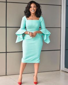 We have Ghanaian TV personality, Serwaa Amihere as she shows us how to look stylish in corporate dresses in gowns, skirt styles in English and African pr. African Fashion Ankara, African Print Fashion, African Prints, African Attire, African Dress, Classy Dress, Classy Outfits, Casual Work Dresses, Dresses For Work