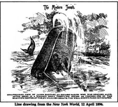 A newspaper illustration  for the account of James Bartley, an apprentice seaman on a whaler who was swallowed by a whale in February, 1891 and survived after 15 hours in the wahle's stomach. A Modem Jonah is inscribed on his tombstone in Gloucester, England