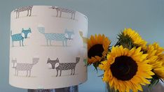 Fox Lampshade - Scandi Style - Woodland - Nursery Lampshade - Animal; Drum Handmade Lampshade - Table Lamp - Ceiling Light by LucyWagtail on Etsy