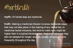 Today's #herbtruth: Herbal teas can have many benefits but they are not all necessarily medicinal.   You can learn more about the important differences between herbal vs. medicinal teas by studying herbalism. Find a class!