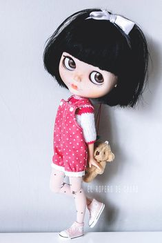 Bloomer Overalls and Sweater for Blythe doll Peto Pant and