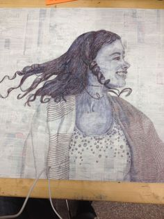 Unfinished self portrait-ink wash and pen-2014