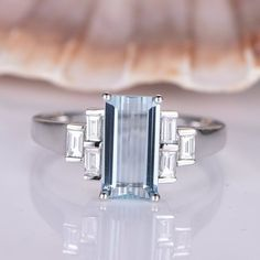 White Gold Aquamarine Engagement Ring Baguette Moissanite Band Natural Blue Emerald Cut aquamarine Promise Solitaire Ring Main ring: Metal:Solid white gold,rose gold or yellow gold Main Emerald Cut Natural VS Blue Aquamarine Accent baguette Baguette Engagement Ring, Morganite Engagement, Morganite Ring, Solitaire Ring, Vintage Engagement Rings, Solitaire Engagement, Diamond Bands, Diamond Wedding Bands, Wedding Rings